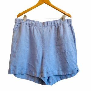 Ellen Tracy Blue 100% Linen High Waisted Shorts XL